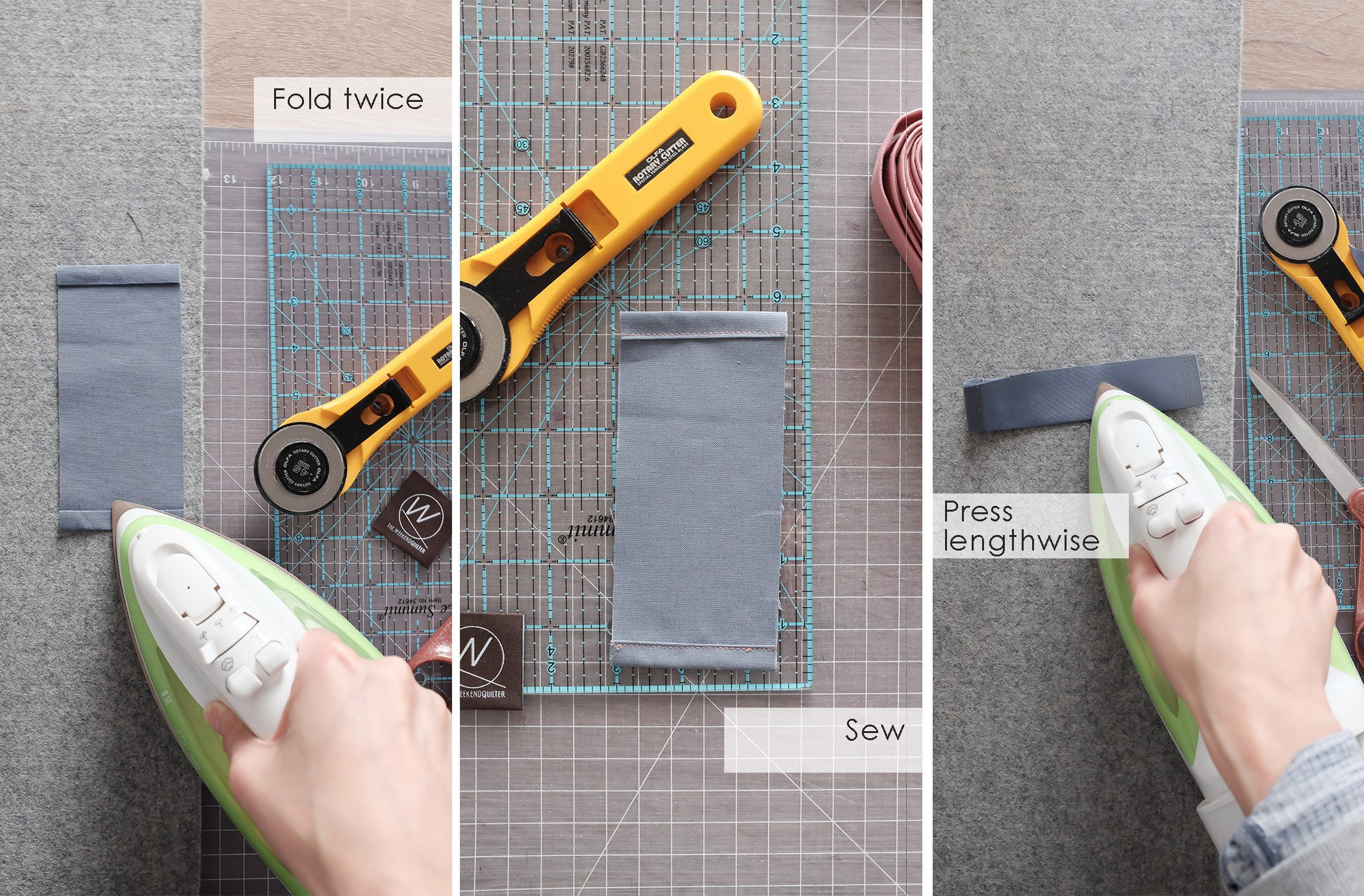 steps to ironing and sewing fabric to make a quilt wall hanging