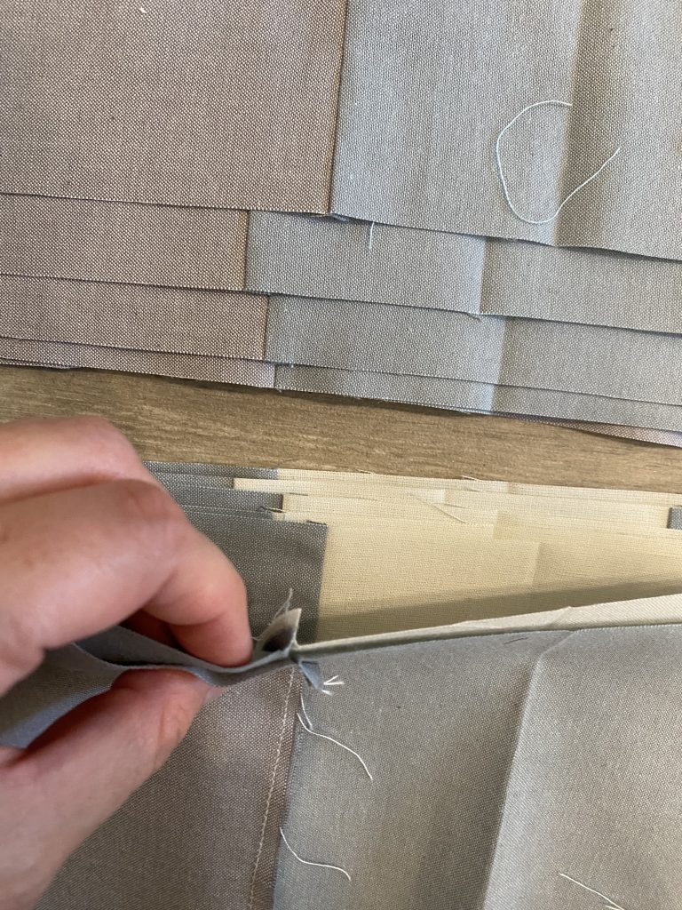 Nesting Seams for Gingham Quilt